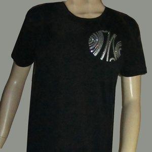 Nordstrom Black Short Sleeve Jeweled Long Top L